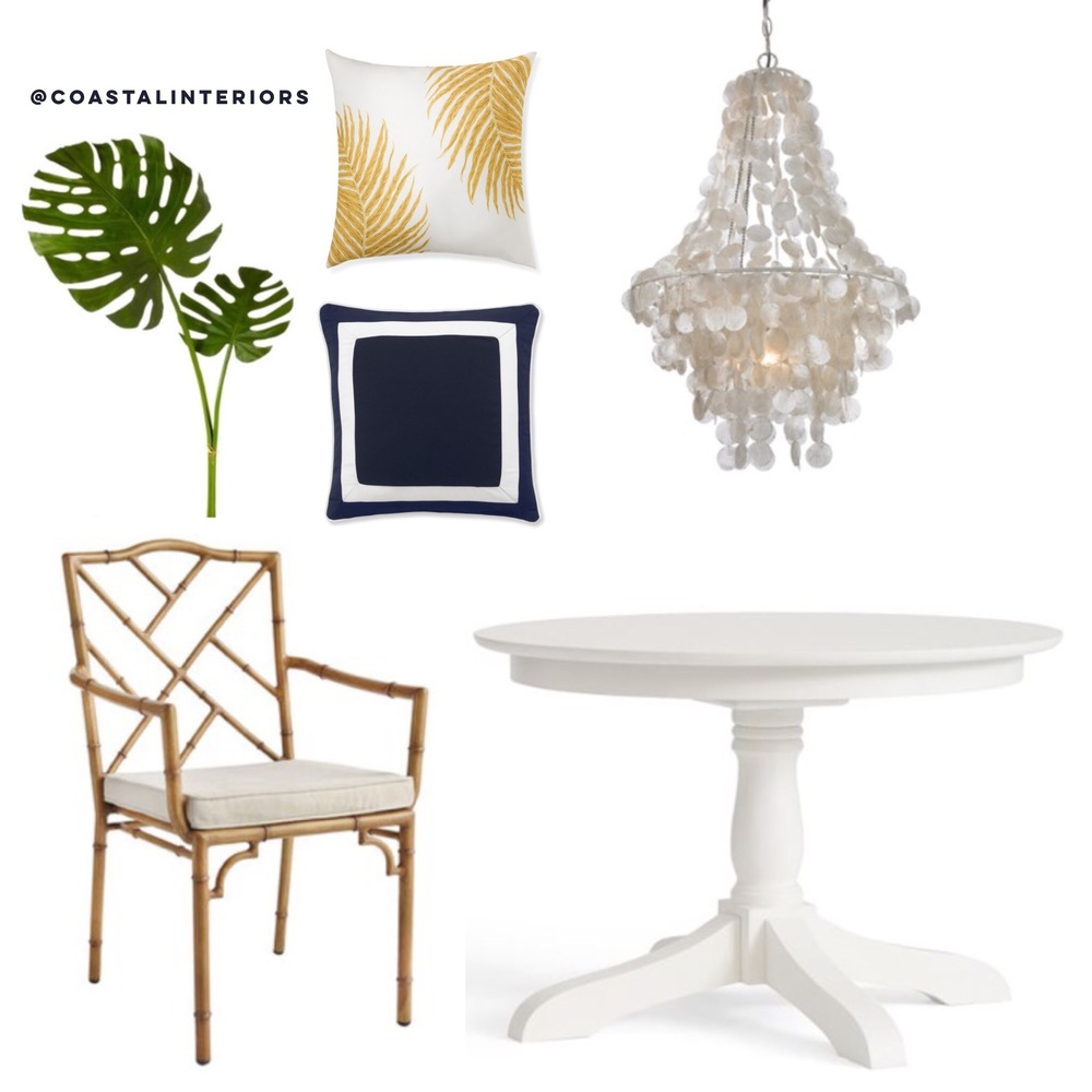 Coastal Dining Room with White Table and Capiz Shell Chandlier