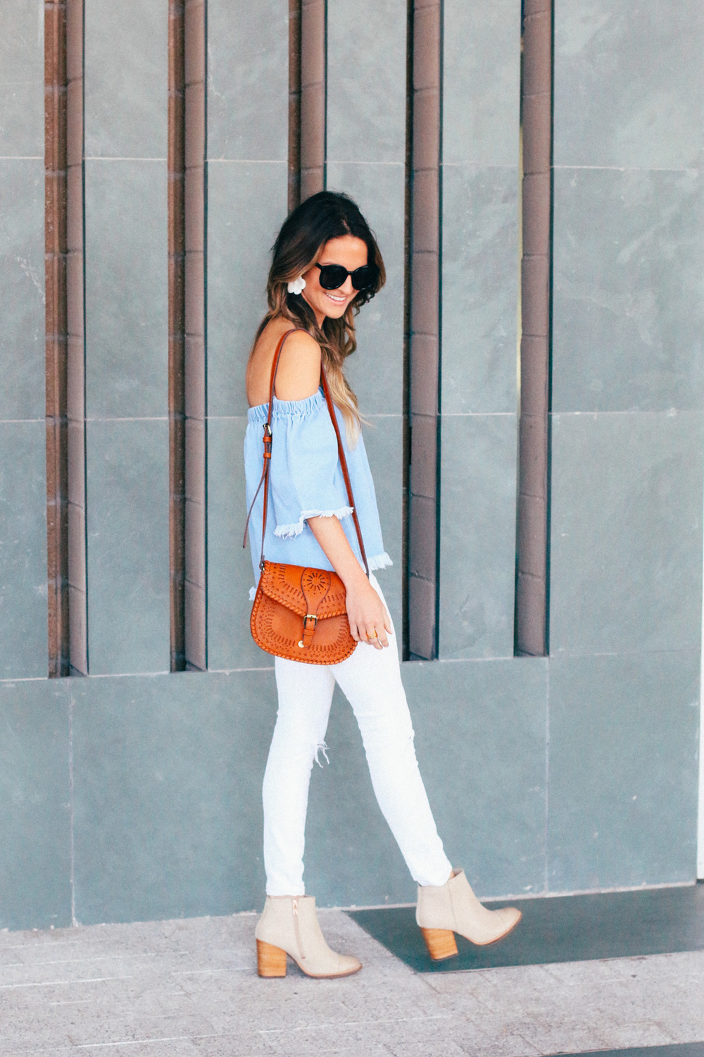 Denim and White Outfit for Summer
