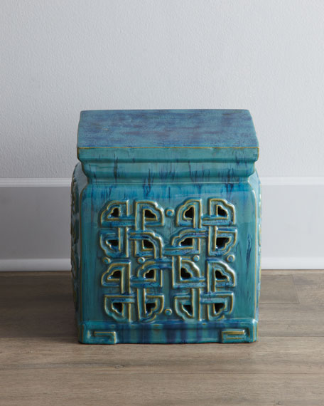 Large Blue Garden Stool for Summer
