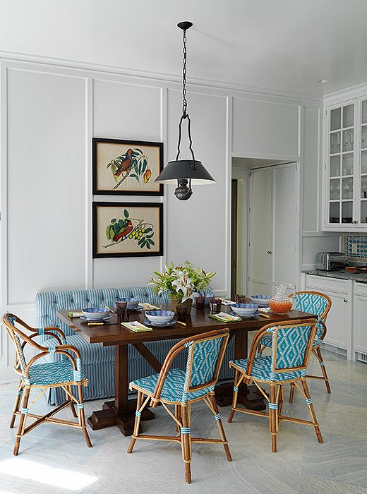 Simple Dining Room with Blue Diamond Pattern Bistro Chairs