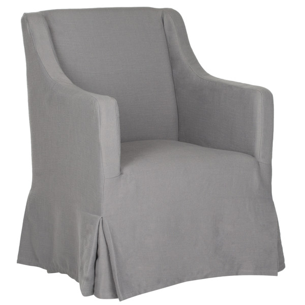 Skirted Slipcovered Chair in Grey