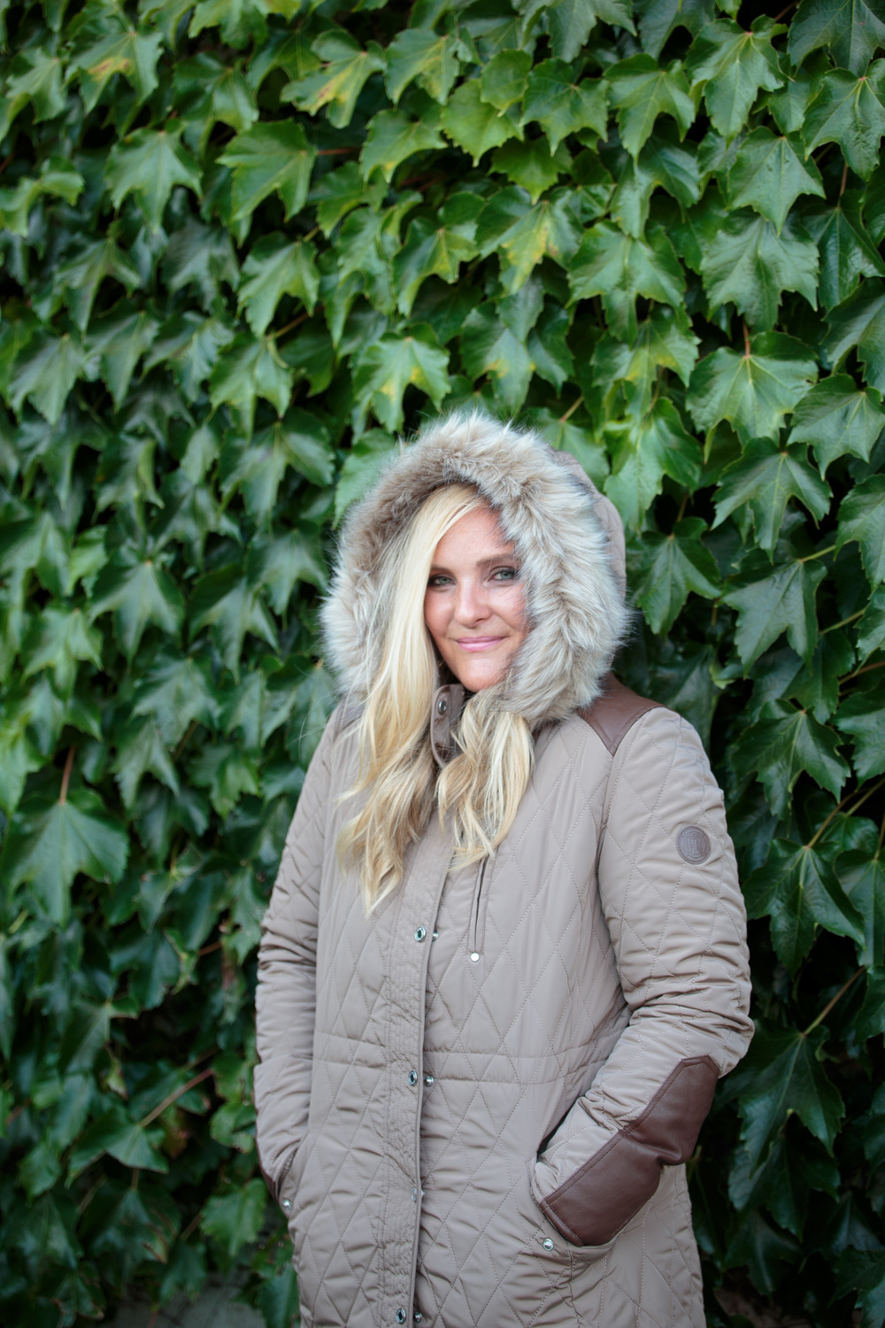 Tan Quilted Anorak Coat with Faux Fur Hood for Fall 2016