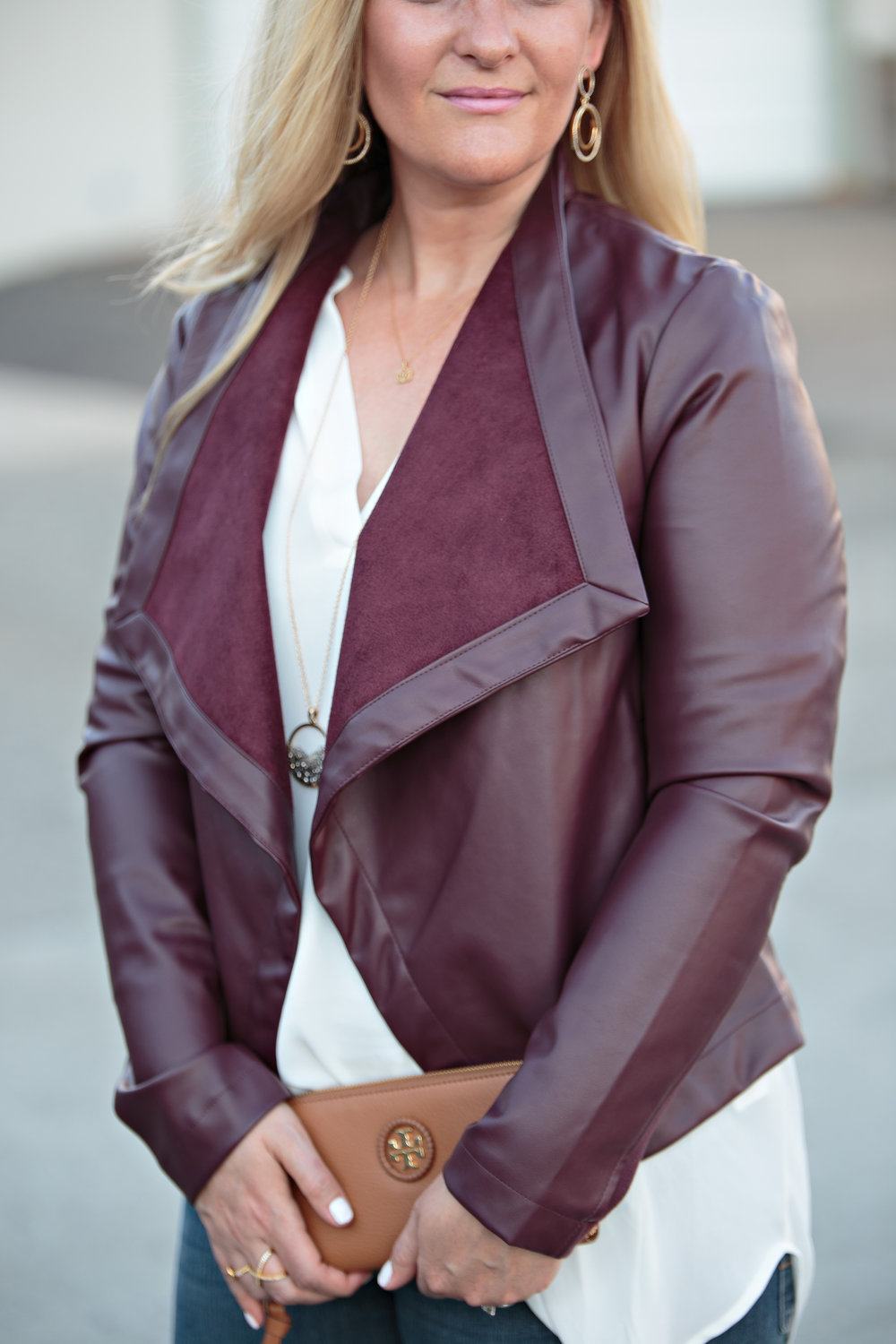 Bordeaux Drape Front Jacket for Fall