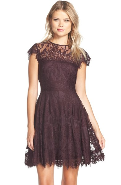 Lace Fit and Flare Dress in Aubergine color with cap sleeves