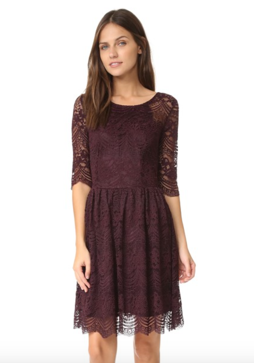 Long Sleeved Lace Fit and Flare Dress