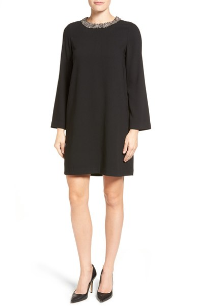 Gorgeous Black Shift Dress with Embellished Neckline