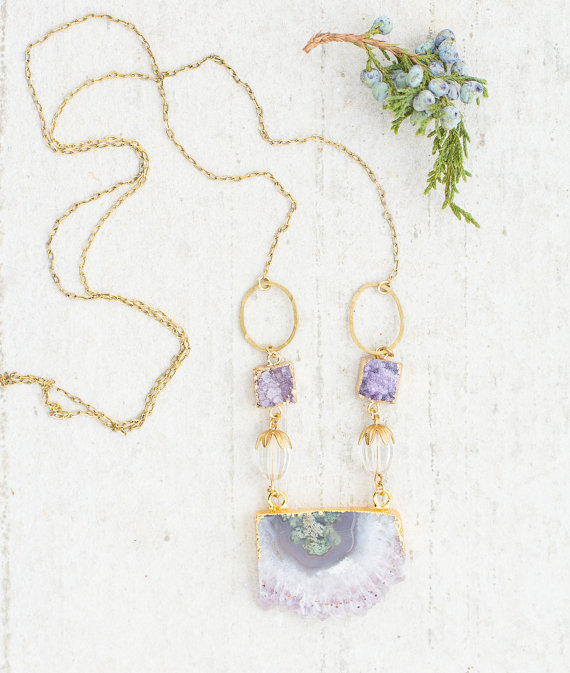 Long Handmade Amethyst Necklace - Holiday Gift Guide