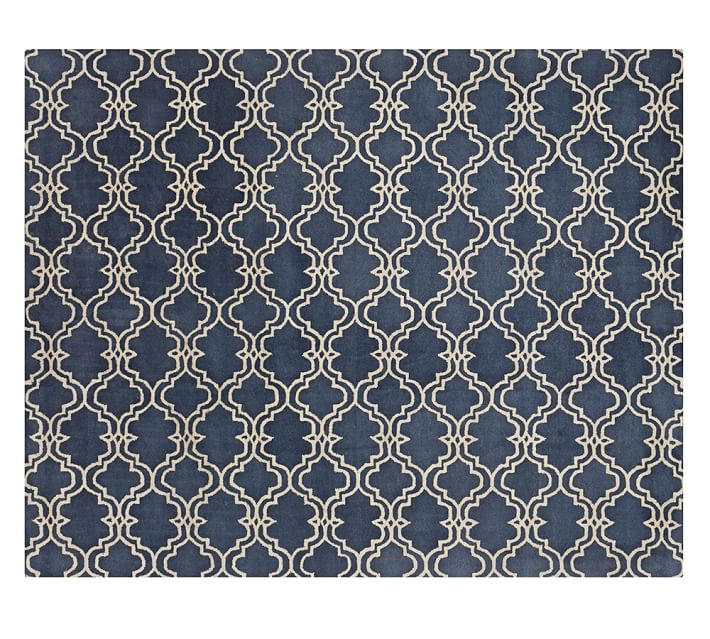 Blue Scroll Tile Rug