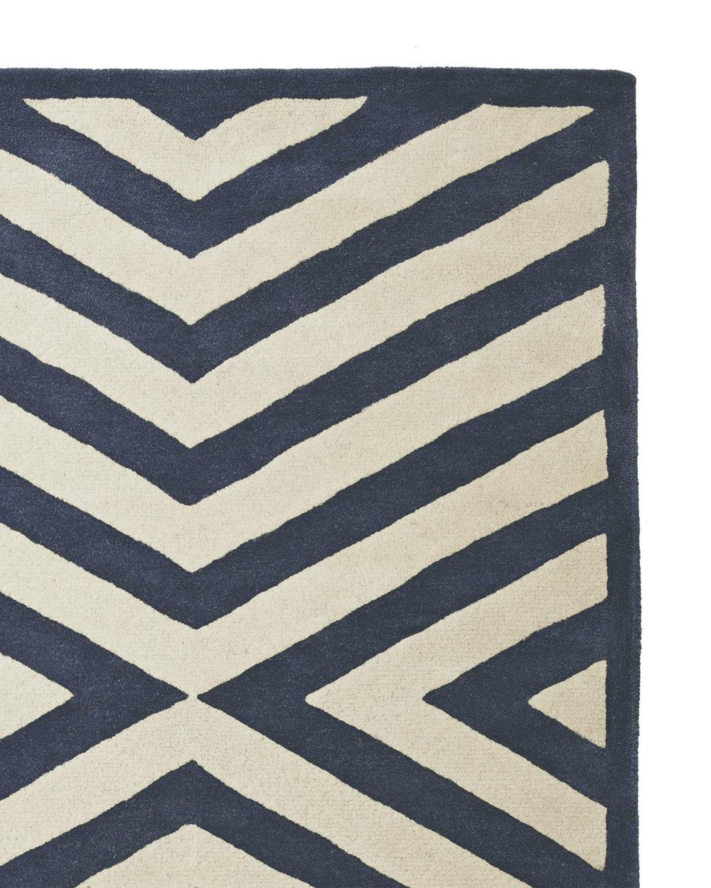 Indigo modern area rug