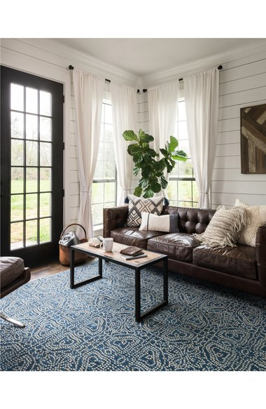Magnolia Navy Blue Rug - Gorgeous coastal farmhouse look