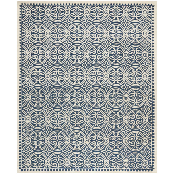 Navy and Cream Circle Links Rug