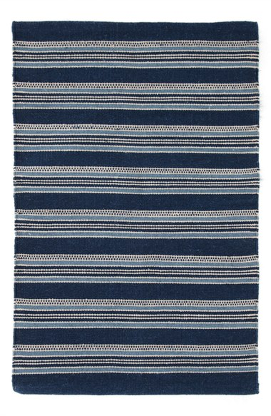 Striped coastal living rug for a beach house