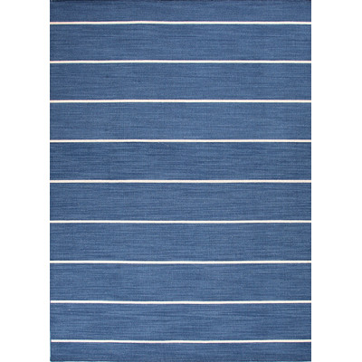 Coastal Living dhurrie rug in navy blue stripe