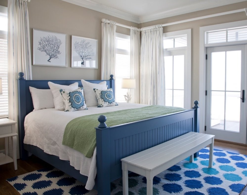 Coastal Master Bedroom with Sea Fan art