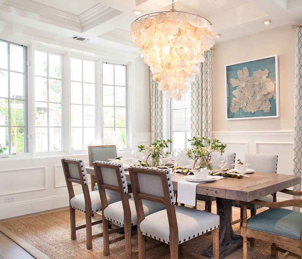 Coastal Dining Room with Sea Fan wall art
