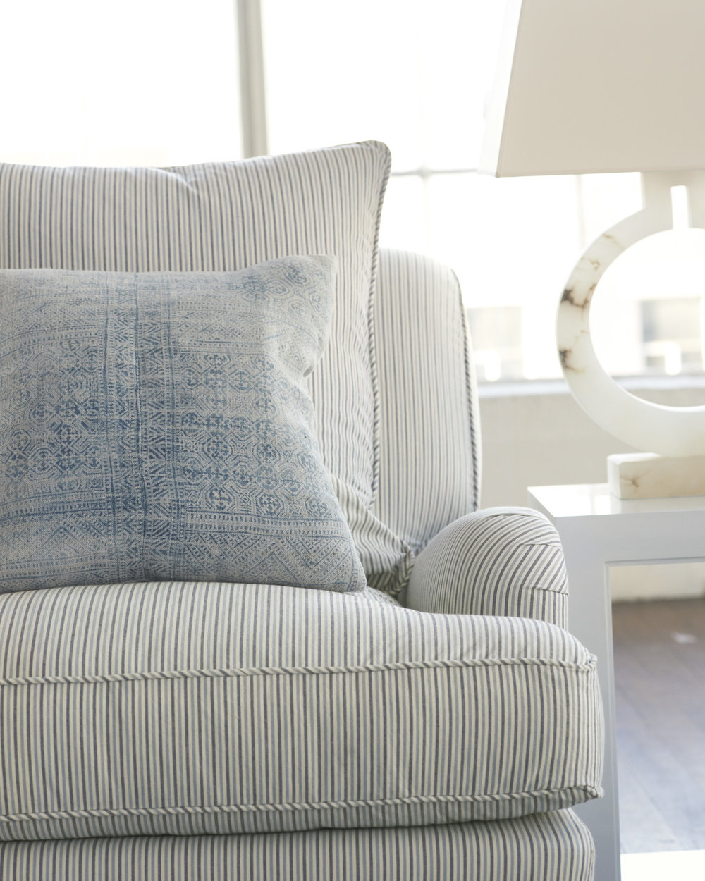 Miramar Slipcoverd Striped Arm Chair
