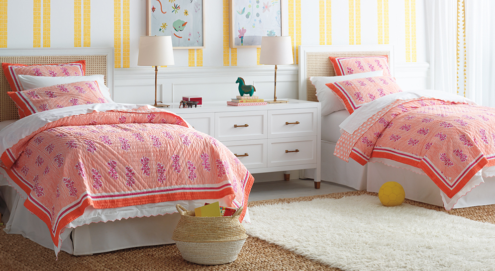 Girl's Bright Coastal Shared Bedroom