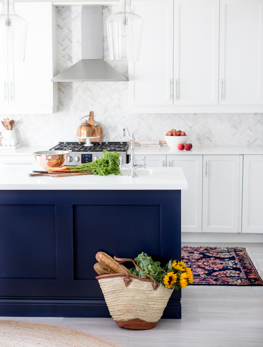Dark Blue Island Kitchen by Ms. Craftberry Bush