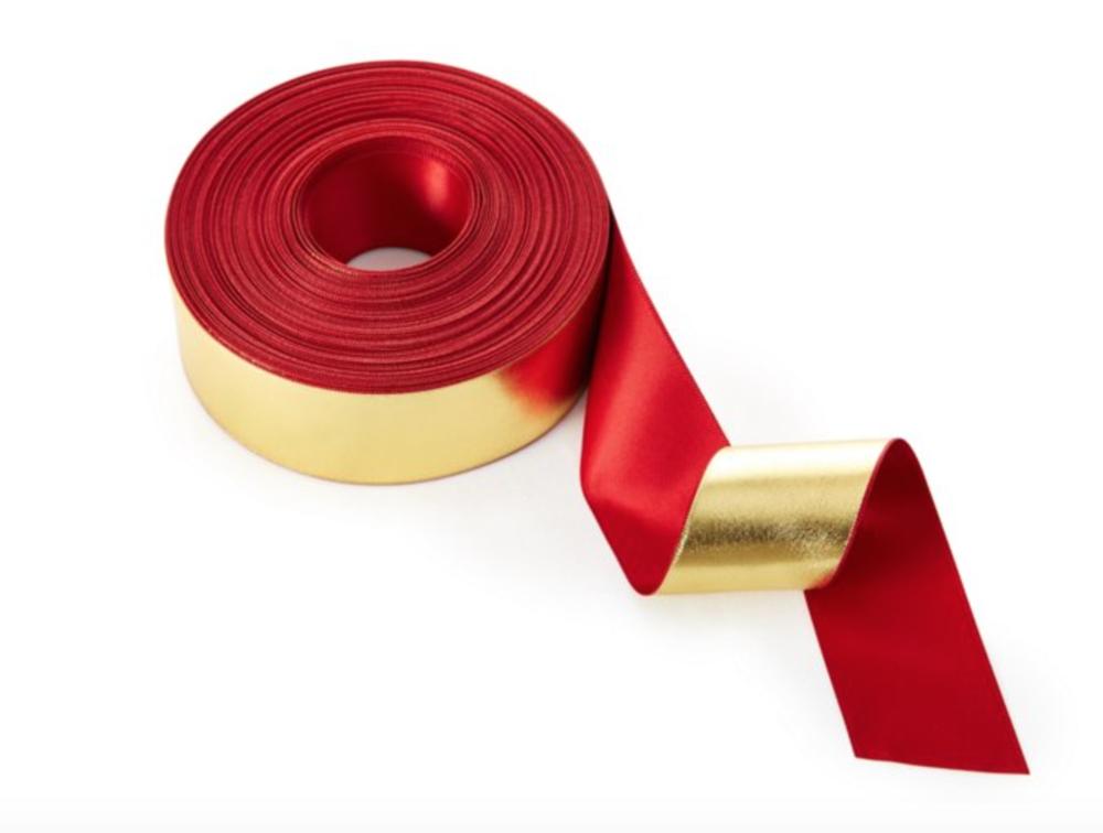 "1.5"" Satin Reversible Ribbon, Red/Gold"