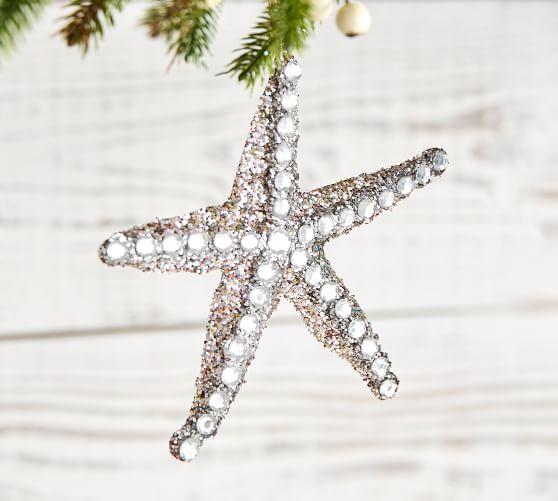 Sparkle Starfish Christmas Ornament