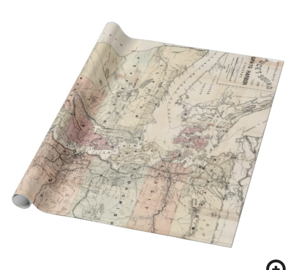 Vintage Puget Sound Map Wrapping Paper