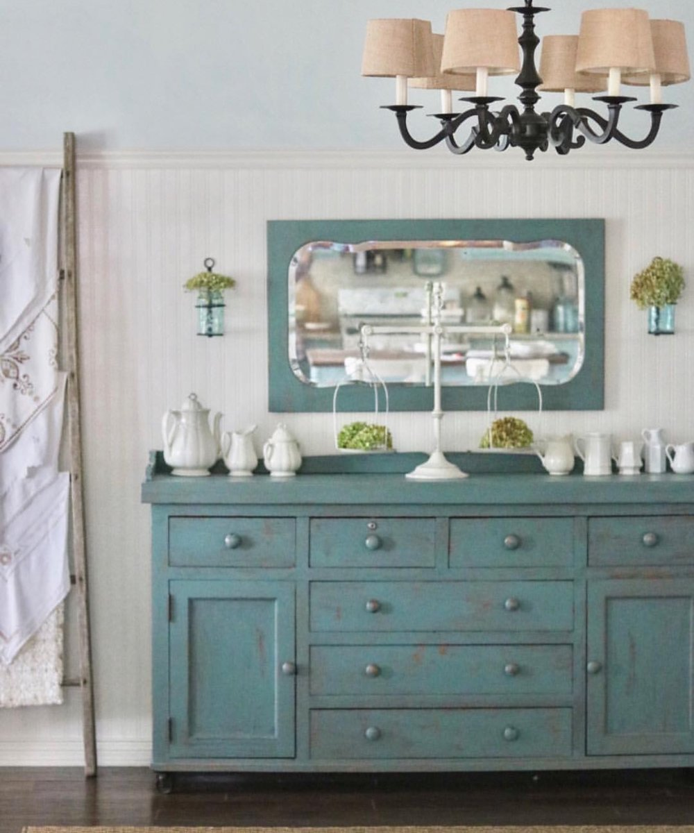 Distressed Teal diy painted buffet - perfect cottage farmhouse style