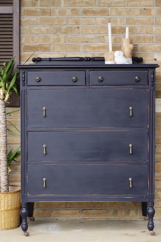 Coastal Blue Painted Dresser Makeover