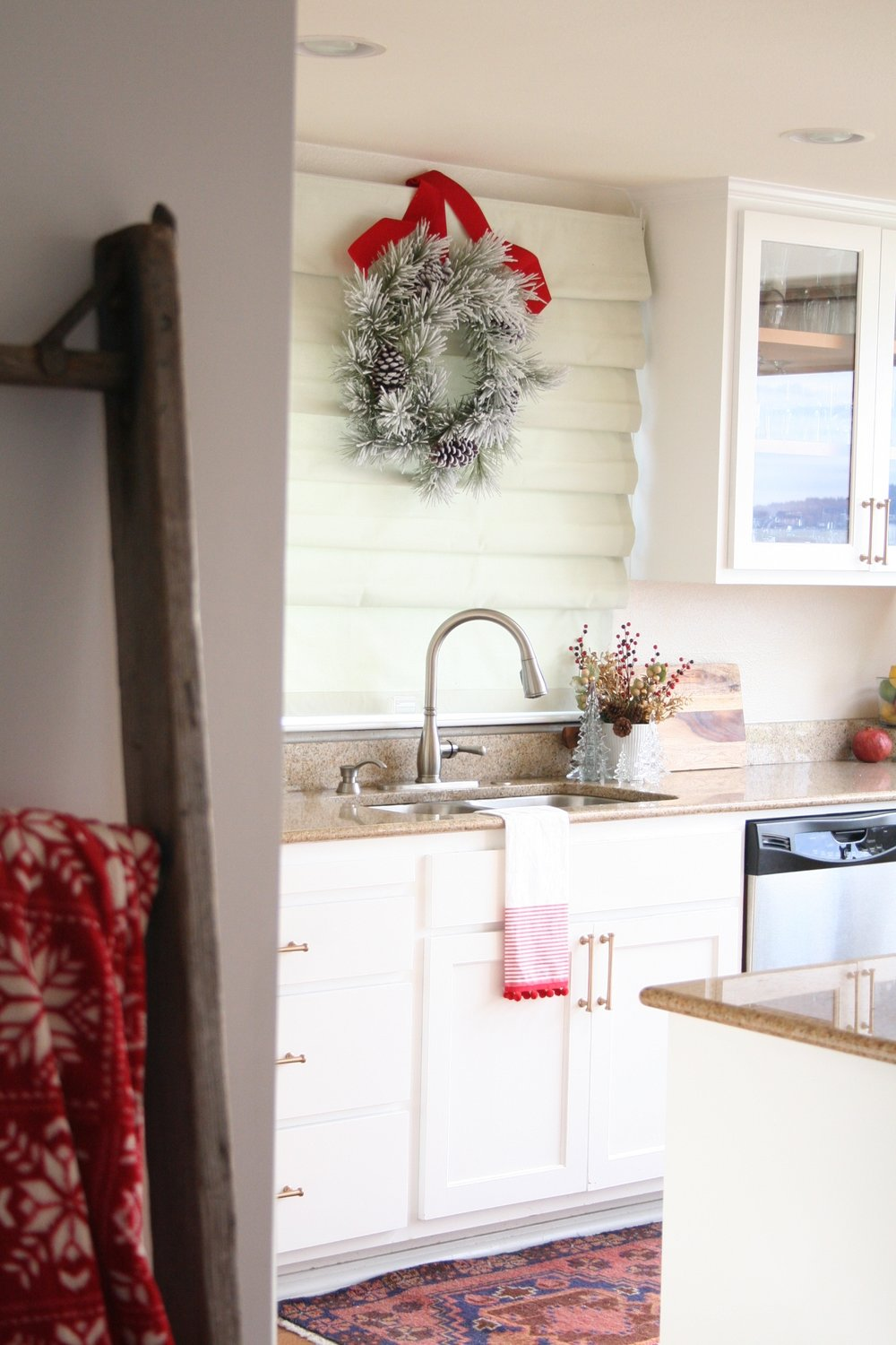 Christmas Kitchen Wreath over Sink