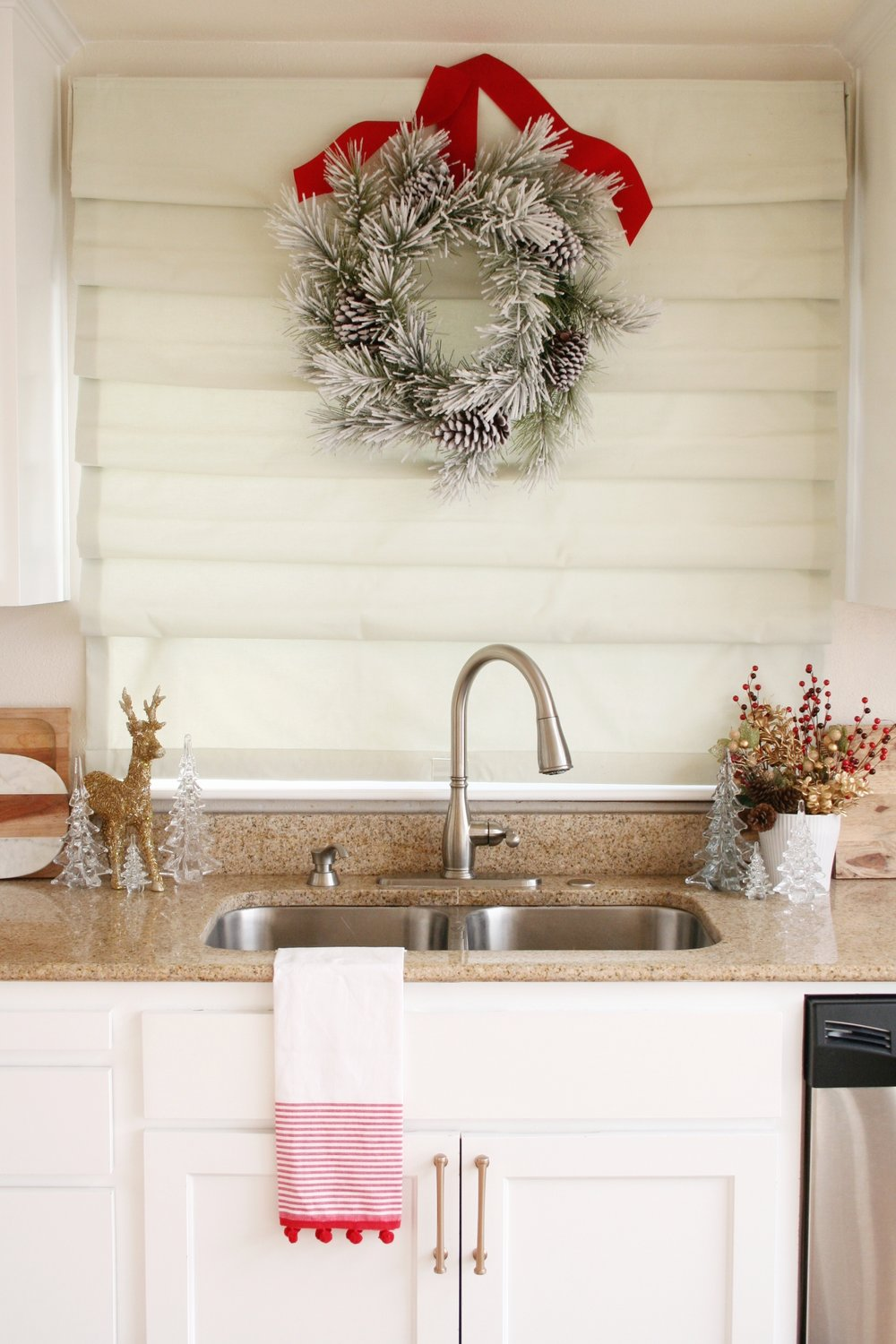 Christmas Wreath over Sink