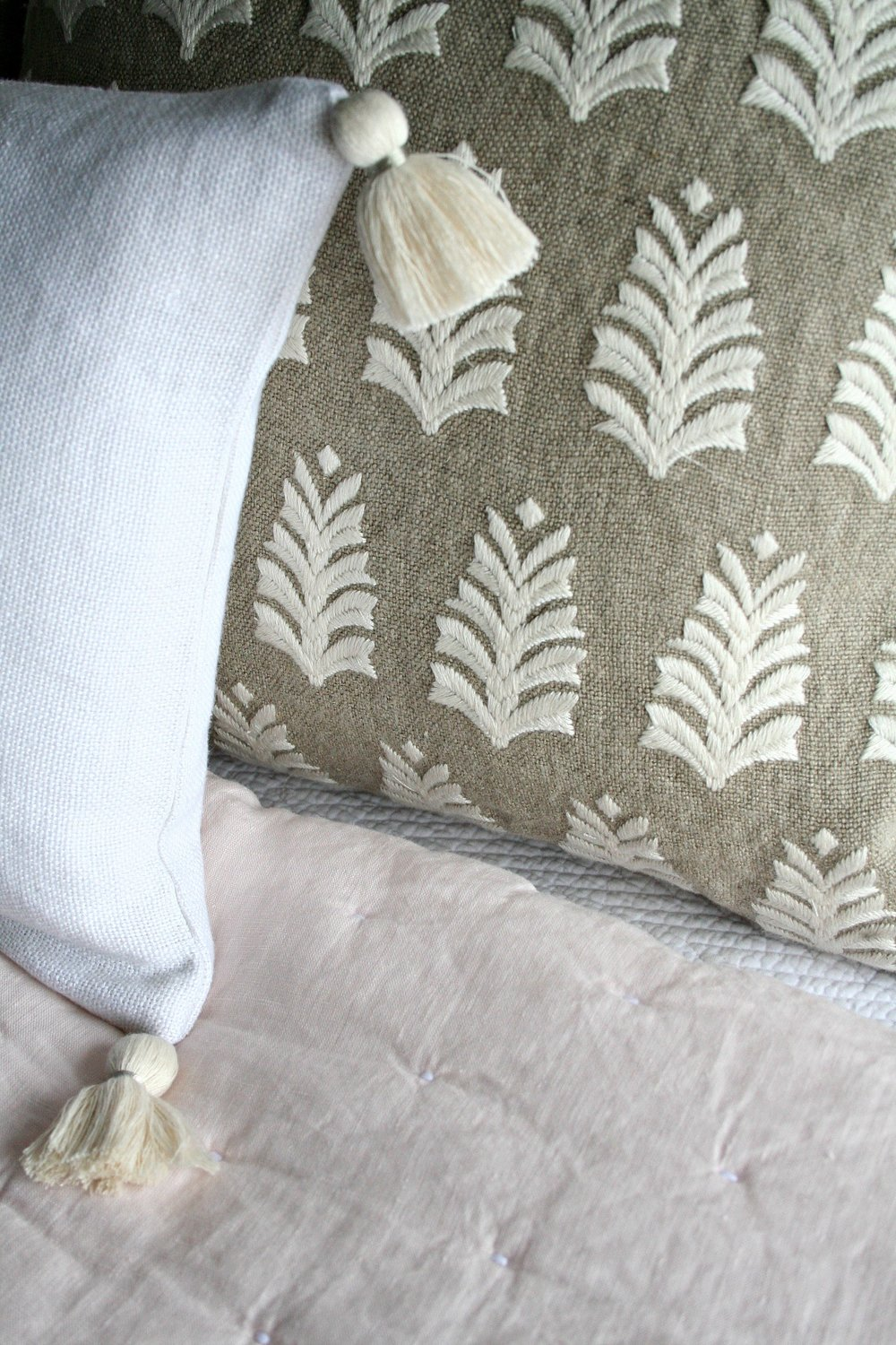 Embroidered Pillow Details