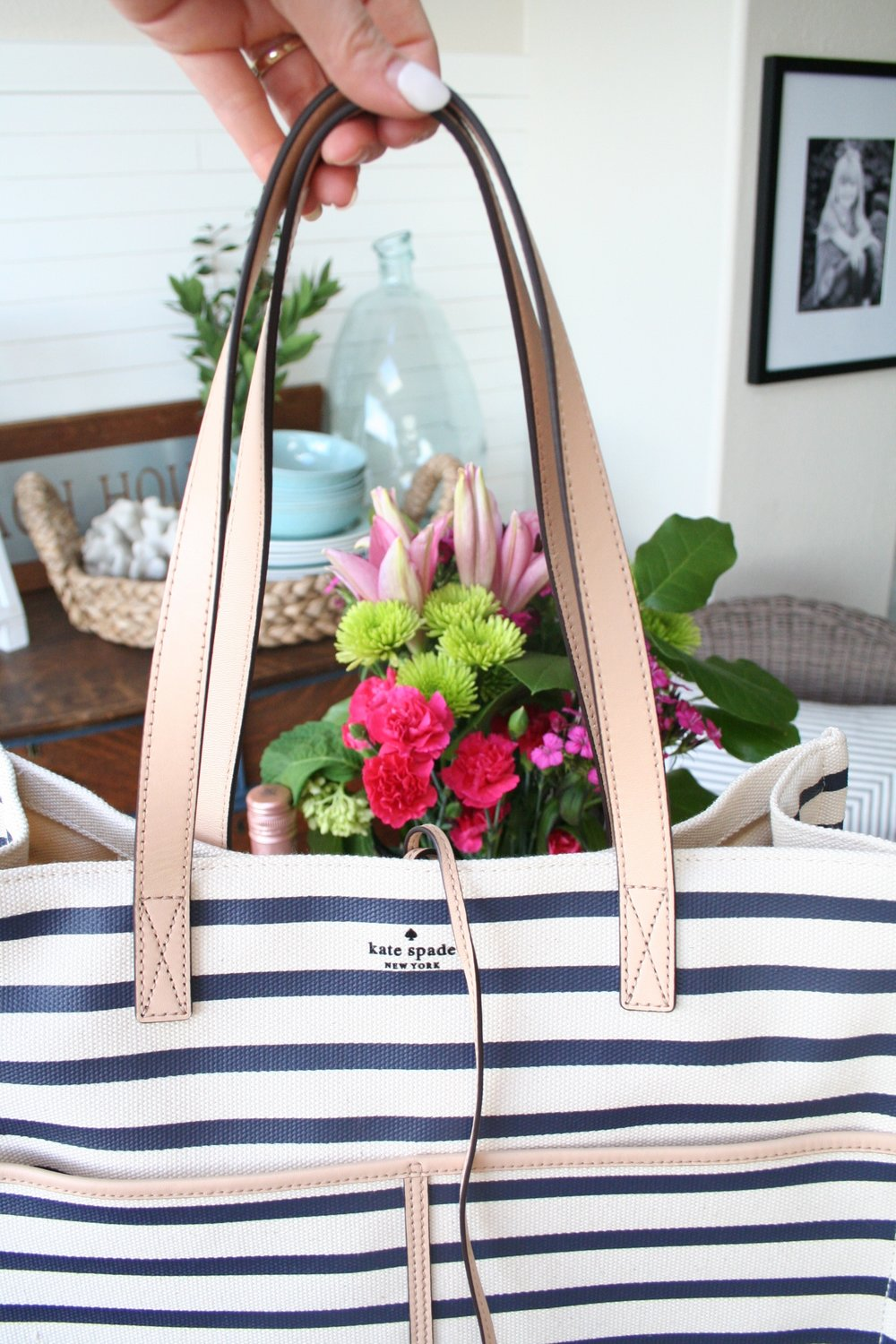 Navy Coastal Striped Tote for Summer