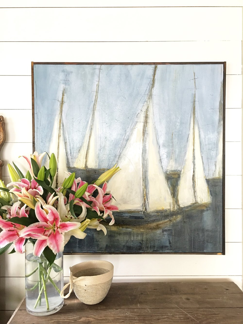 Beach House Art Work and Rope Basket - Coastal Interiors