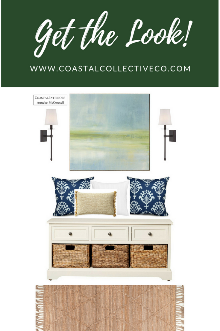 Coastal Entryway Bench with Baskets and Drawers, Coastal Artwork and Wall Sconces