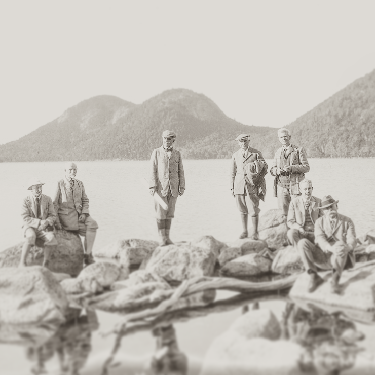 The OG's of Acadia, 1923 (L-R: Joseph Allen, W.H. Buell, Fred D. Weeks, C.H Grandgent, William J. Turner, T.A. MacEntire, Geore Door) 📷 : NPS/Archive Photo
