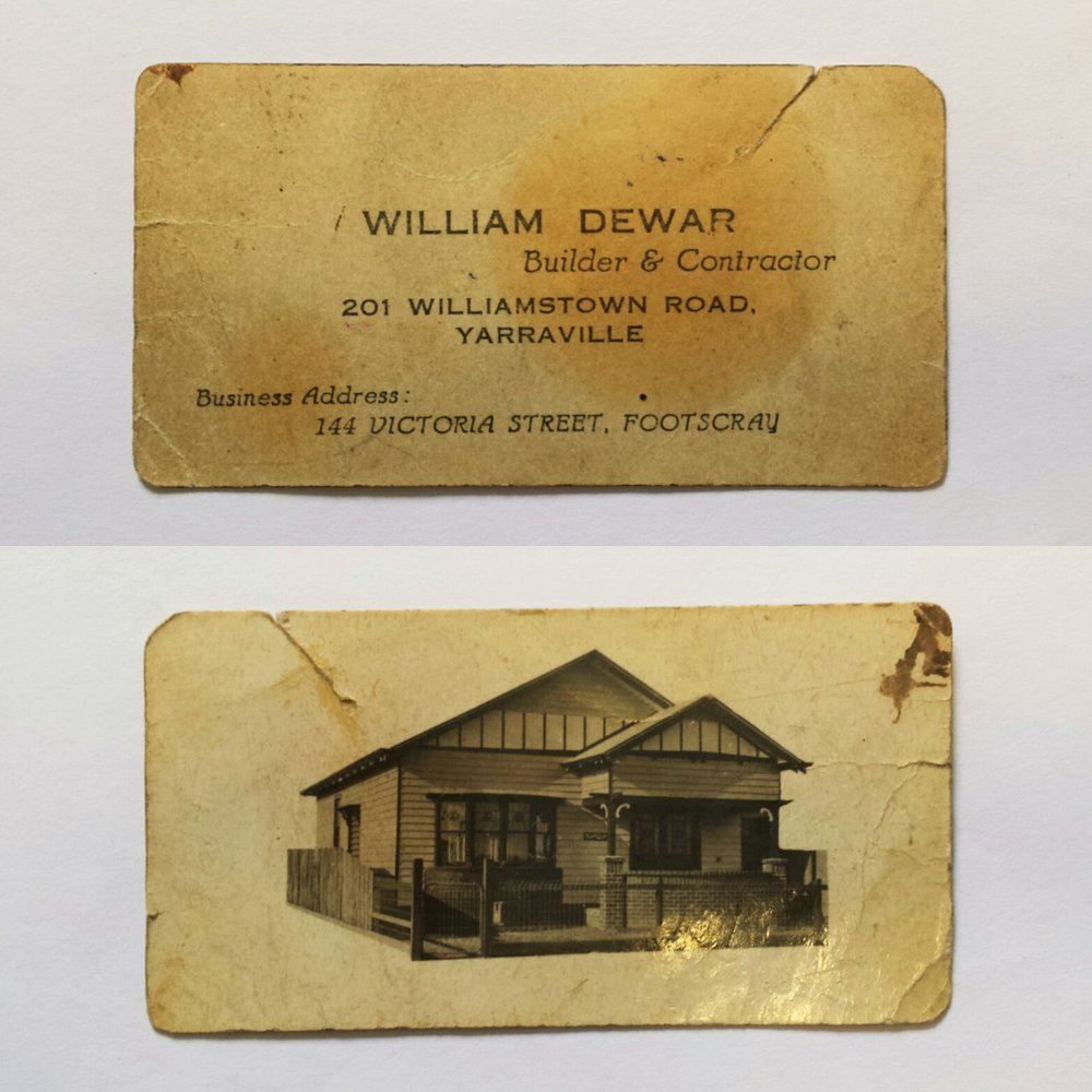 William Dewar's business card circa 1930