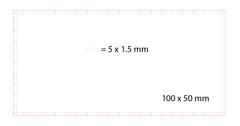 So here is the basic shape of one side of the box. I put 5 x 1.5 mm spacers around the inside perimeter of the shape.