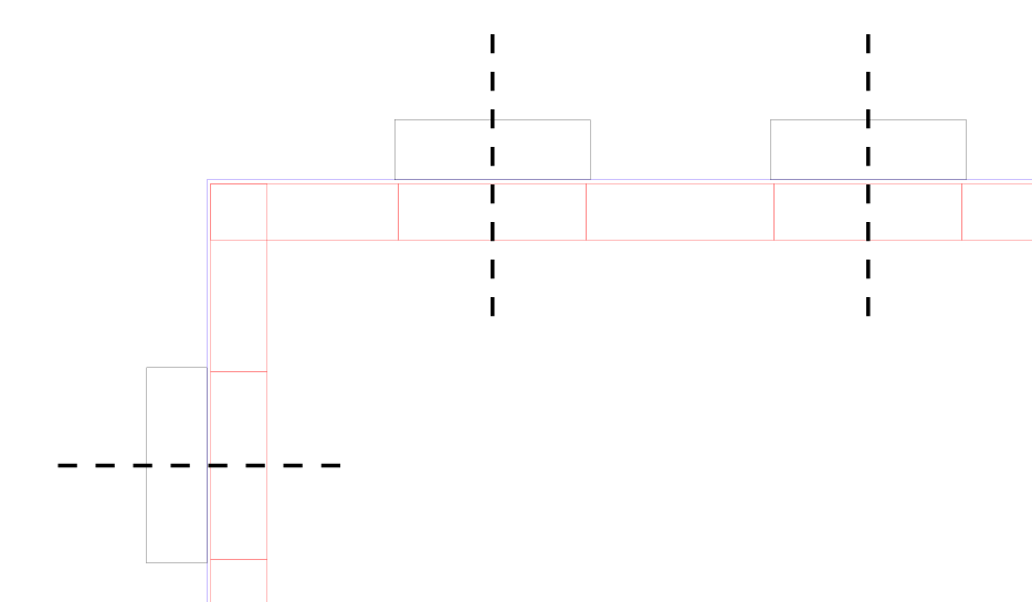 Then I made a rectangle that was 5.2 x 1.6 mm (+.2 in length but only +.1 in width because it's only being cut on one side) and copied that shape, each time lining it up to the center of the original spacers.