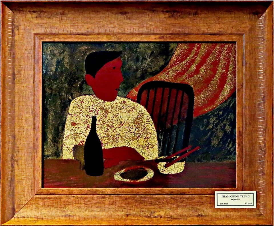 Lacquer Drawing - Mot Minh by Pham Chinh Trung