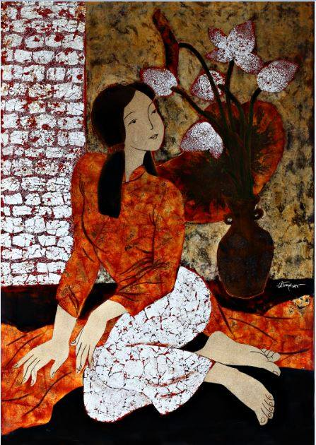 Lacquer Drawing - Thieu Nu by Pham Chinh Trung