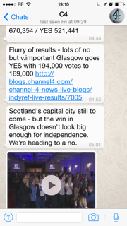 Channel 4's Indyref WhatsApp experimental messages