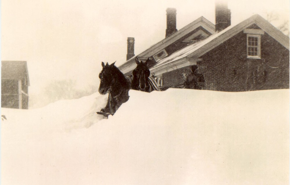 Horses dashing through a snowy winter day in 1919