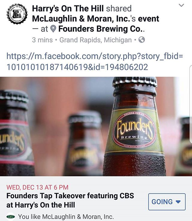 Come out to @harrysfedhill for a @foundersbrewing Tap Takeover featuring CBS!  December 13, 6-9pm! . . . . . #harrys #harrysbarandburger #burgers #sliders #founders #cbs #craft #craftbeer #drinkcraftbeer #drinklocal #localcraft #NoCraponTap
