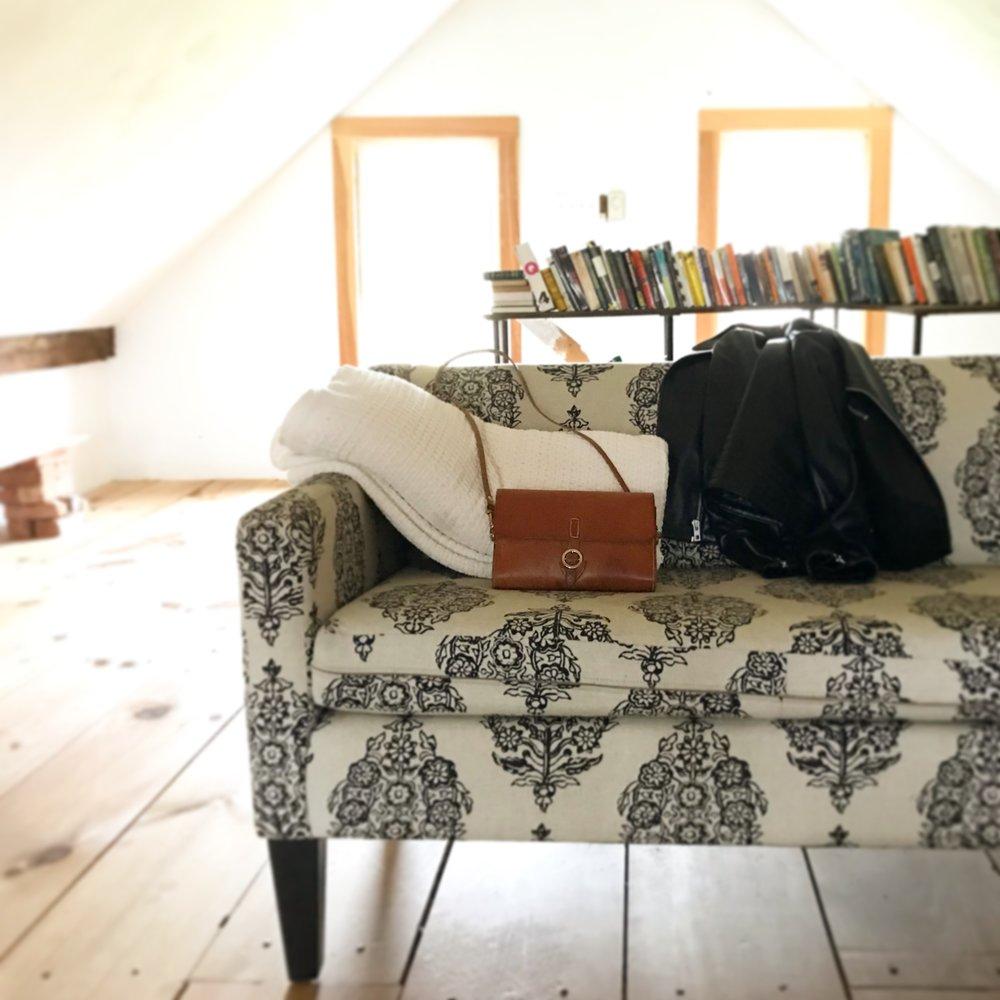 handmade, saddle-stitched leather handbag, hudson, ny