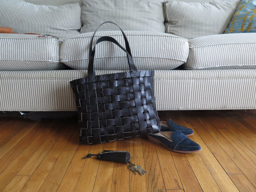 handmade leather basket handbag, hudson, ny