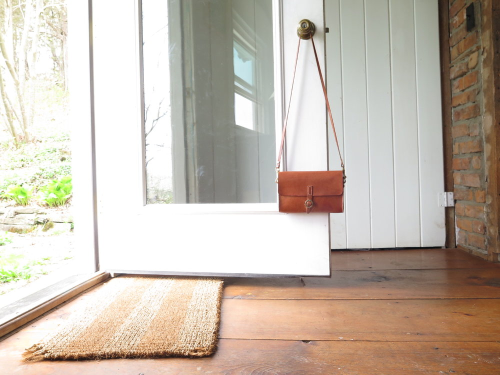 handmade saddle-stitched leather handbag, hudson, ny