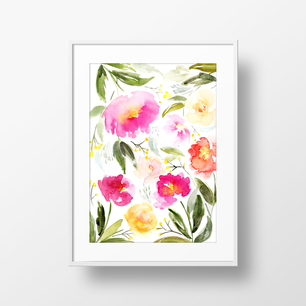 11 X 14 Matted Spring Flowers Watercolor Art Print Andreearusso