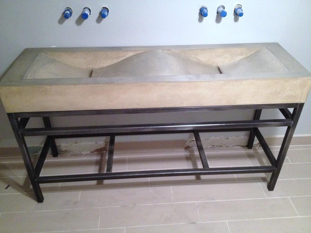 Double Concrete Wave Sink on Steel Base