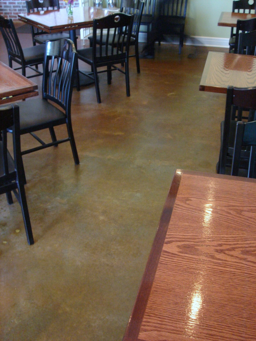 Diamond Honed, Stained and Waxed Concrete Flooring