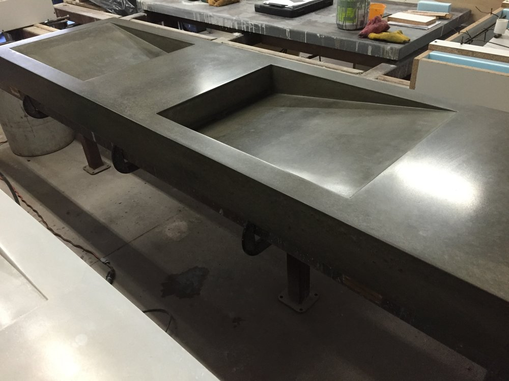 Mirrored Concrete Ramp Sink
