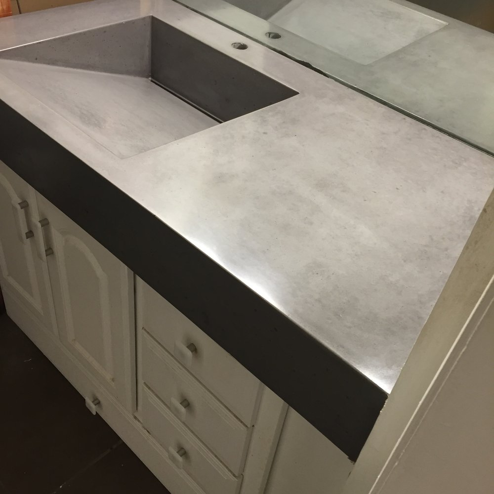 Concrete Vanity with Ramp Sink